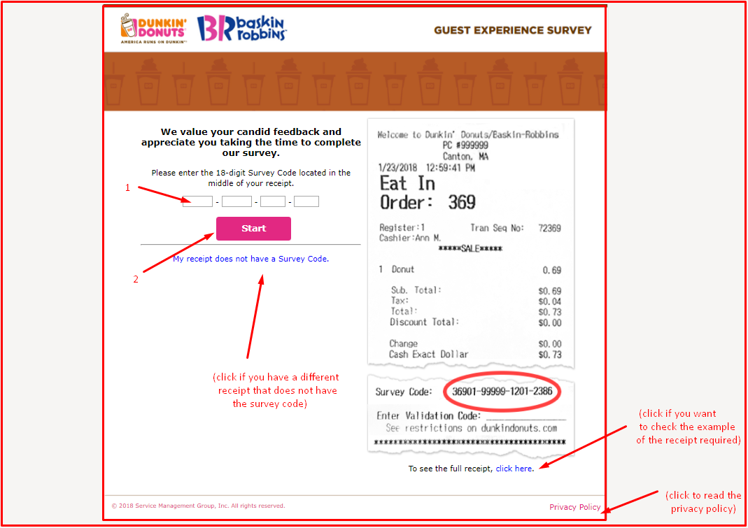 telldunkin guest survey information
