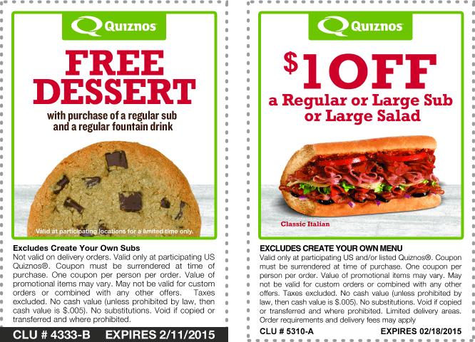 save with quiznos coupons