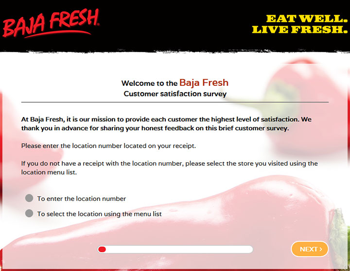baja fresh customer survey information