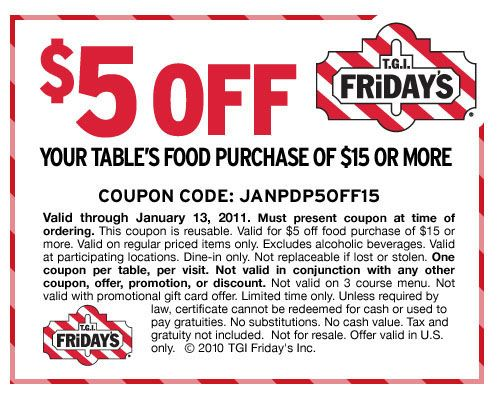 tgi fridays coupons discounts