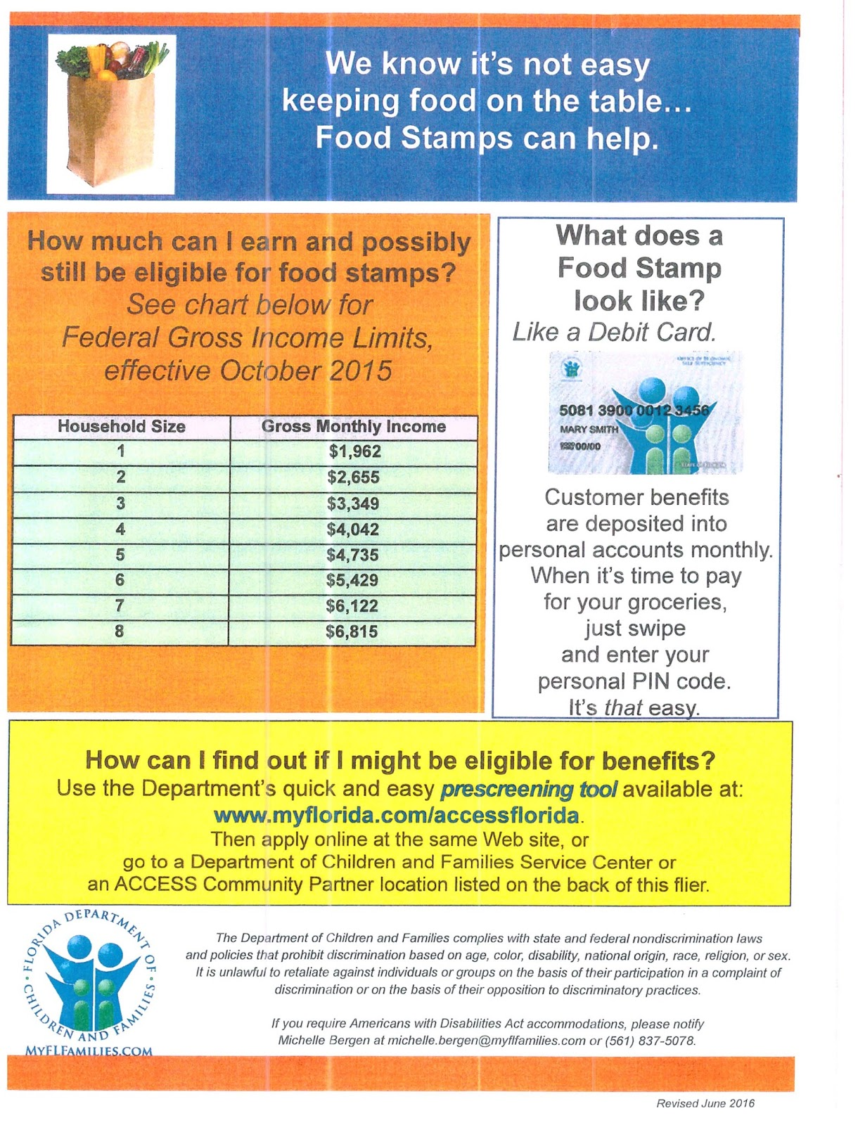 SNAP food stamps eligibility tool