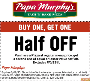 image relating to Papa Murphy's Coupon Printable referred to as Papa Murphys Pizza Coupon codes