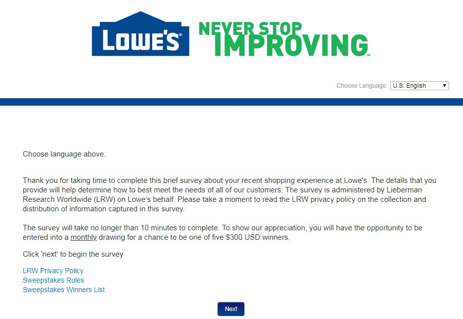 Lowes Survey Customer Feedback and Sweepstakes Review