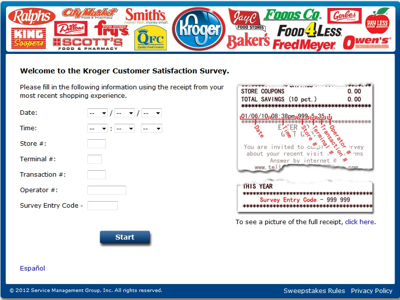 Kroger Customer Satisfaction Survey at www.TellKroger.com
