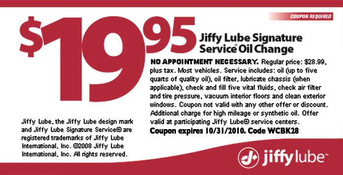 jiffy lube coupons discounts