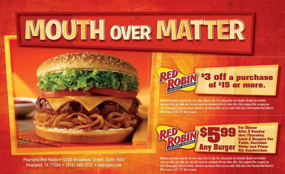 Red Robin Coupons 2012