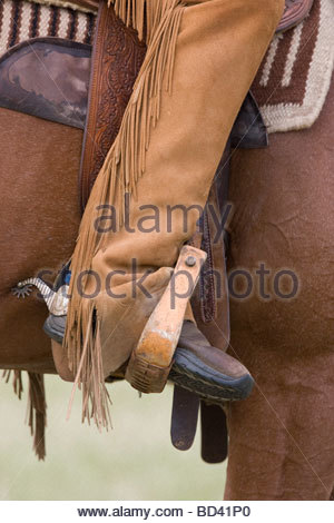 cowboy in saddle, boots in stirrups photo